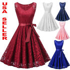 Women's Lace Formal Floral Cocktail Party Wedding Evening Gala Bridesmaid Dress