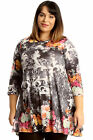 New Womens Top Plus Size Ladies Floral Print Orange Swing Tunic Abstract Tie Dye