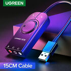 Ugreen USB Sound Card External Audio Adapter 3.5mm Stereo for Headset Mic PS4