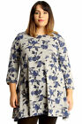 New Womens Plus Size Tunic Ladies Swing Top Skater Style Floral Print Flared Hem