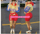 Women Contrast Color Tracksuit Sheet Hooded Crop Top Shorts Casual 2PC Set JS8