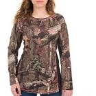 Ladies Mossy Oak Camo Long Sleeve Performance T Shirt w/ Neon Pink Accent Large