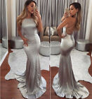 Uk Satin Mermaid Formal Wedding Dress Backless Long Evening Party Prom Gown Aaa
