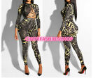 Women Sexy Cross Lace UP Bandage Bodysuit Snake Print Long Sleeve Jumpsuit X10