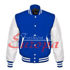 American Unisex White Real Leather Sleeves Letterman College Varsity Wool Jacket