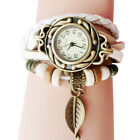 Fashion Women Girl Retro Leather Watch Winding Dress Bracelet Leaf Pendant Watch image