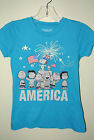 Girl's Kid's  SNOOPY Peanuts  AMERICA Patriotic Blue Sparkle Tee T-shirt S M L