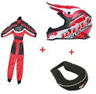 New Wulfsport Red Kids Motocross Black Helmet Red Suit neck roll Bundle Youth