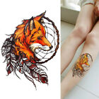 2 Peices Waterproof Temporary Tattoo Sticker Colorful Owl Fox Wolf For Men Women