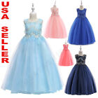 Flower Girl Sequin Birthday Wedding Princess Pageant Party Kid Formal Long Dress