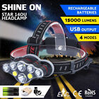 15000 lm Rechargeable T6 LED Headlamp Head Light Flashlight Zoom Torch Lamp SA