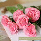 Artificial Fake Real Touch Silk Latex Rose Flower Wedding Bouquet Red White Pink