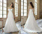 High Quality Elegant White Lace Up A-Line Weeding Dresses  Customize made