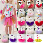 First Birthday Dress Set Baby Girls Toddler Kids Tops Tutu Skirt Outfits Clothes