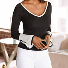 2019Women Sexy V-neck Bell Sleeve Bottoming Blouse Long Sleeve T-Shirt Tops AZT
