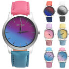 Fashion Women Girl Wrist Watch Rainbow Ladies Leather Band Analog Quartz Gfit image