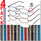 Reading Glasses with Case Unisex Metal Style 4 PAIRS ALL POWERS New Men Women