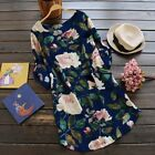 Womens Summer Holiday Floral Loose Tops T Shirt Party Mini Dress Size 8-24 Style