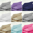 US Solid Queen/Standard Silk~y Satin Pillow Case Bedding Pillowcase Smooth Home image
