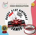 FORMULA ONE EDIBLE ROUND BIRTHDAY CAKE TOPPER DECORATION PERSONALISED