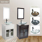 "24"" Bathroom Vanity Vessel Sink Single Cabinet Clear Tempered Glass Basin Combo $209.99 USD on eBay"