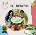 DISNEY TINKERBELL EDIBLE ROUND BIRTHDAY CAKE TOPPER DECORATION PERSONALISED