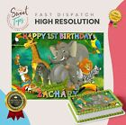 SAFARI ANIMALS RECTANGLE EDIBLE CAKE TOPPER DECORATION PERSONALISED