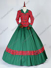 Victorian Civil War Dickens Plaid Caroler Dress Theatrical Cosplay Gown 122