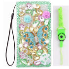 3D Luxury Leather Flip Bling Diamond Wallet Case Girls Phone Cover with strap 23