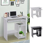 Compact Small Computer Table Wooden Desk Keyboard Tray Storage Shelf Corner