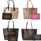 Coach F36658 F37807 Reversible City Tote Signature Floral Metallic w Zip Pouch