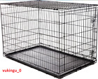 Folding 1 Door Dog Crate Cat Crate Cage Kennel w/Tray DC Metal Black 30 36 42 48