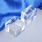 Clear Glass Square Blocks Dimple Crystal Ball Display Base Stand Holder