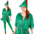 New Adult Ladies Peter Pan Elf Robin Hood Fancy Dress Costume Book Xmas