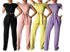 Внешний вид - USA  Women Knitted Short Sleeve Tie UP Top+Pants 2 Piece Set Tracksuit Out Fit