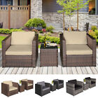 3pcs Patio 2 Seater Rattan Sofa Garden Furniture Set Table W/ Cushions