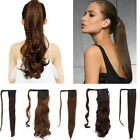 real natural clip in as human hair extensions pony tail wrap ponytail long hair