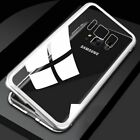 Magnetic Adsorption Metal Case Phone For Sumsung Note 8 9 Tempered Glass Cover