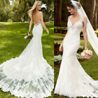 2019 New Beach Wedding Dresses White/Ivory Lace Backless Mermaid Bridal Gown New