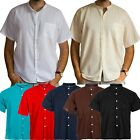Mens Short Sleeve Grandad Collar Shirt - 100% Cotton - Ideal for Summer Quality