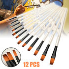 12pcs Artist Paint Brushes Set Acrylic Oil Watercolor Painting Craft Art Kit US фото