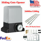 Electric Sliding Gate Opener, AC Motor Automatic Gate 2 Remotes and 4m Rack US