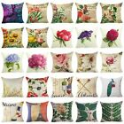 "Home Decor Flower Cotton Linen Square Cushion Cover 18""Throw Pillow Case image"