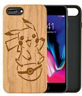 Pikachu Pokemon Natural Carved Wooden Phone Case for IPHONE SAMSUNG HUAWEI PIXEL