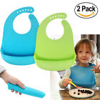 Kyпить 2PCS Waterproof Baby Silicone Bibs Feeding bib Kids Roll up Food Catcher Pocket на еВаy.соm