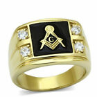 Masonic Stainless Steel 316 Lodge Ring, IP 14kt Gold,  AAA Grade CZ Clear, 8