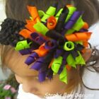 Halloween Round Full Korker Hair Bow Headband FITS Preemie Newborn Toddler Cute