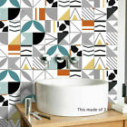 Home Decor Geometric Pattern Tile Stickers Self-adhesive Bathroom Kitchen Wall
