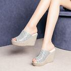 Women's Peep Toes Wedge Heels Sandals Platfrom High Heels Slippers Shoes