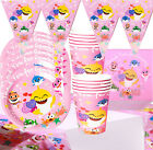 BABY SHARK GIRL PINK  PLATE TABLE COVER BANNER BALLOON PARTY BABYSHARK CUPCAKE
